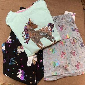 Bundle of unicorns 🦄 top, leggings, skort NWT
